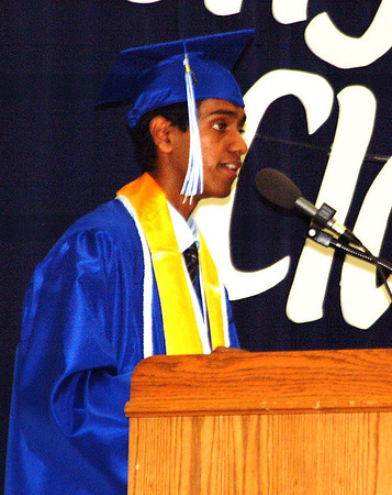 "Debbie Blank | The Herald-Tribune<br /> SALUTATORIAN DEEPAN SARAVANAN: ""We must remember that it is not the destination that matters, but the journey through this branching river we call life. In other words, don't be so bent on achieving success that you miss out on what truly matters -- enjoying life."""