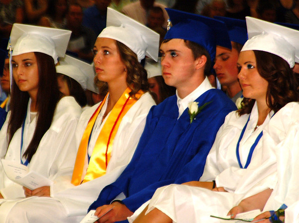 Debbie Blank | The Herald-Tribune<br /> THE CLASS OF 2014 listens to valedictorian Leo Giesey's speech.