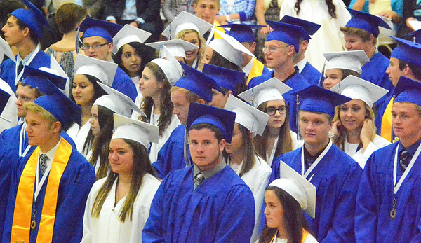 Will Fehlinger | The Herald-Tribune<br /> A sea of blue and white was formed as students processed into the gym.