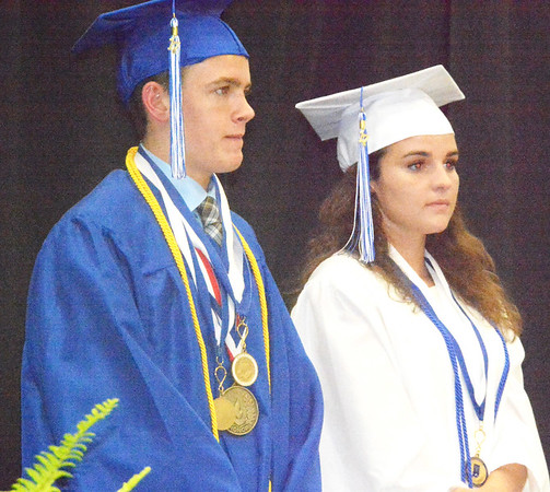 Will Fehlinger | The Herald-Tribune<br /> Valedictorian Nathan Batta and salutatorian Anna Kick received the Paul & Thelma (Lamping) Grossman Scholarship Award.