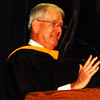 "Debbie Blank | The Herald-Tribune<br /> The superintendent introduced speaker Bill Hammerle, Class of 1966 representative, who rose from U.S. Marines helicopter pilot to colonel, then developed communities in California. He advised students, ""If you're never scared, hurt of embarrassed, it means you're not taking any chances … I guarantee you in 50 years you'll be more disappointed in the things you didn't do than the things you did."""