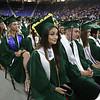 Billerica High graduation. Chantal Caraco, center. (SUN/Julia Malakie)