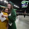Billerica High graduation. Graduate Annabelle Dionne hugs fellow Chamber Singers member Jessica Almeida, a junior, after receiving her diploma. (SUN/Julia Malakie)