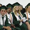 Billerica High graduation. From left, Jason Abreu, class secretary Ashwin Chitoor, class president Victoria Bones, and valedictorian Alex Yeh. (SUN/Julia Malakie)
