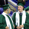 Billerica High graduation. Aramis Ramos, left, and Brett Encarnacao wait for procession to start. (SUN/Julia Malakie)