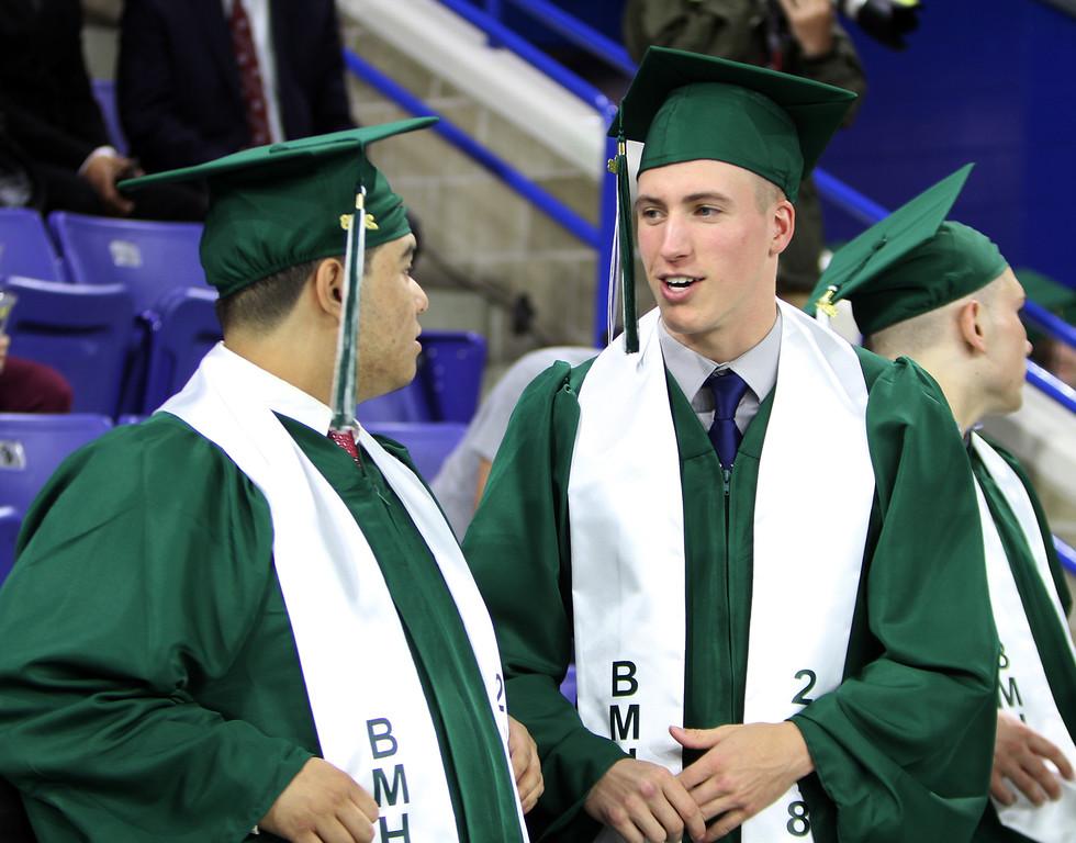 . Billerica High graduation. Aramis Ramos, left, and Brett Encarnacao wait for procession to start. (SUN/Julia Malakie)