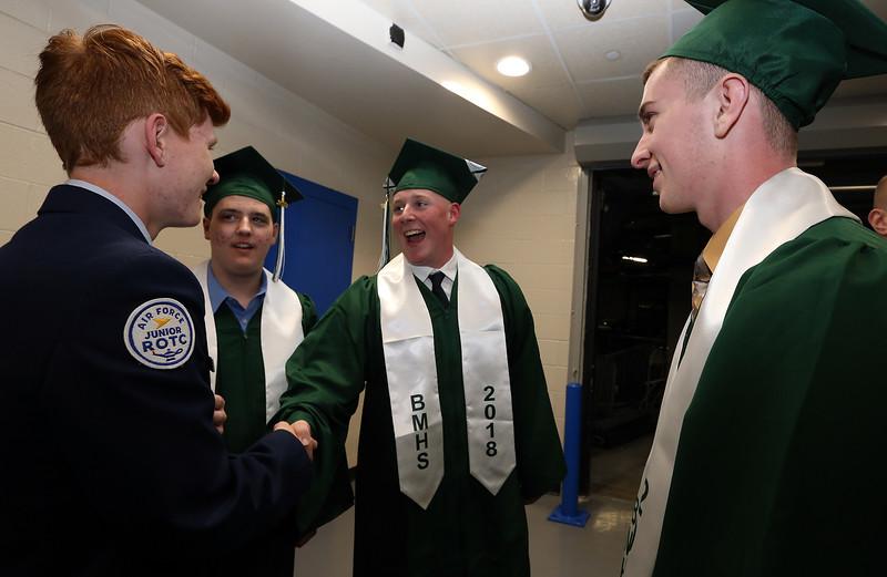 Billerica High graduation. From left, freshman R.J. Fieler, Christopher Abrahamson, Dan Smith and Matthew Black. (SUN/Julia Malakie)