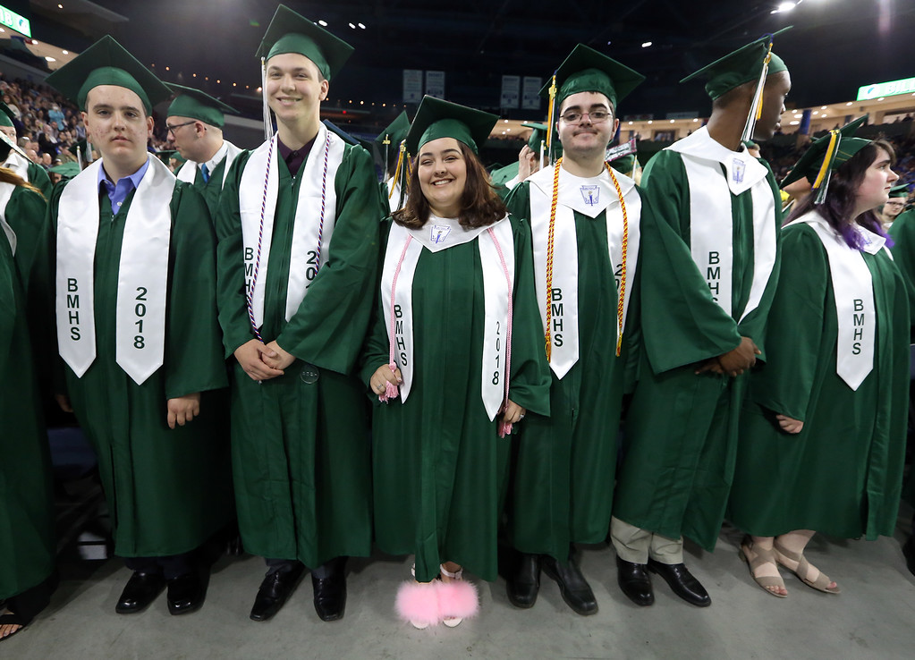 . Billerica High graduation. From left, Christopher Abrahamson, Jared Alexander, Jessica Alemida and her brother J.J. Almeida, Daschnee Altenord, and Megan Aquavella. (SUN/Julia Malakie)