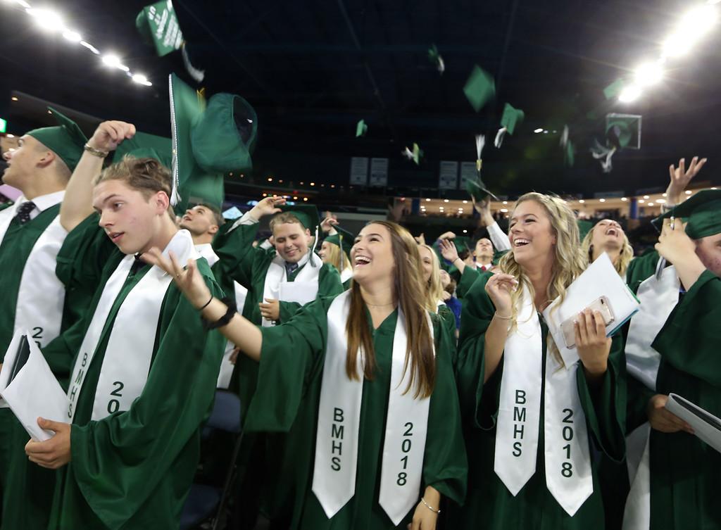 . Billerica High graduation. From left, Robert Aurelio, Erica Antonellis, and Sydney Araujo. (SUN/Julia Malakie)