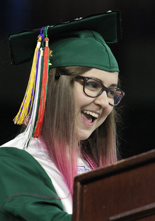 . Billerica High graduation. Valedictorian Alyssa Eakman. (SUN/Julia Malakie)