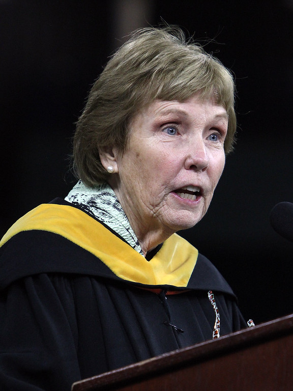 . Billerica High graduation. Commencement speaker Maureen Collins-Rea, a member of the Class of 1965, and former longtime School Committee member. (SUN/Julia Malakie)