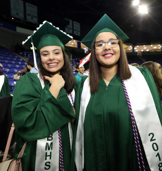 Billerica High graduation. Jacqueline Santana, left, and Mounia El fadil. (SUN/Julia Malakie)