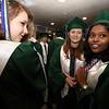 Billerica High graduation. From left, Amanda Malnati, Emma Rugg and Madhu Sekar, before ceremony. (SUN/Julia Malakie)