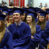 Central Catholic graduation. From left, Michaela Bouchard of Haverhill, Conor Cammann of Andover, Melissa Cochrane of Haverhill, Isabel Dawson of Andover, Don Donahue of Lowell, and Caitlyn Ferreira of Windham, N.H. (SUN/Julia Malakie)