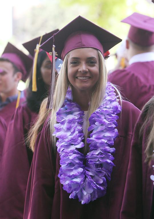 . Rachel Pedersen, in line to enter Chelmsford High School graduation. (SUN/Julia Malakie)