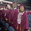 Tiana Am, right, at Chelmsford High School graduation. (SUN/Julia Malakie)