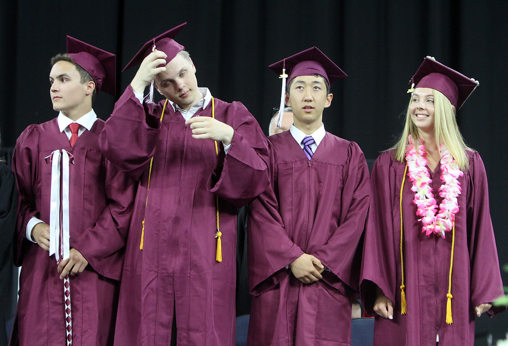 . Chelmsford High School graduation. From left, class president Matthew Doherty, vice president William Marcotte, treasurer Evan Wang and secretary Ingrid Haywood. (SUN/Julia Malakie)