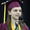 Salutatorian Fanny Riand speaks at Chelmsford High graduation. (SUN/Julia Malakie)