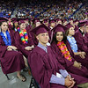 Chelmsford High graduation. Front row from left, Chris Ervin, Tatiana Elsisy and Raianna Edwards-Thomas. Second row from left, twins Daniella and Alexandra Huggler. (SUN/Julia Malakie)