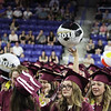 Chelmsford High graduation. Balloons and beach balls reappear right after grads were asked to go easy on the beach balls. Front center to right: Elizabeth Balas (wearing glasses), Anna Drake and Anne Bailey. (SUN/Julia Malakie)