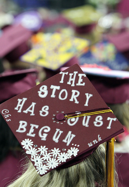 . Alyssa Regan\'s cap at Chelmsford High graduation. (SUN/Julia Malakie)