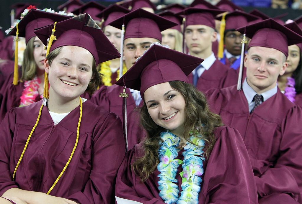 . Chelmsford High graduation. From left, Amy Carey, Sarah Calman and Jack Flaherty. (SUN/Julia Malakie)