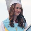 Megan Tyler gives salutatory address at Dracut High graduation. (SUN/Julia Malakie)