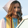Class president Rebecca Maille speaks at Dracut High graduation. (SUN/Julia Malakie)