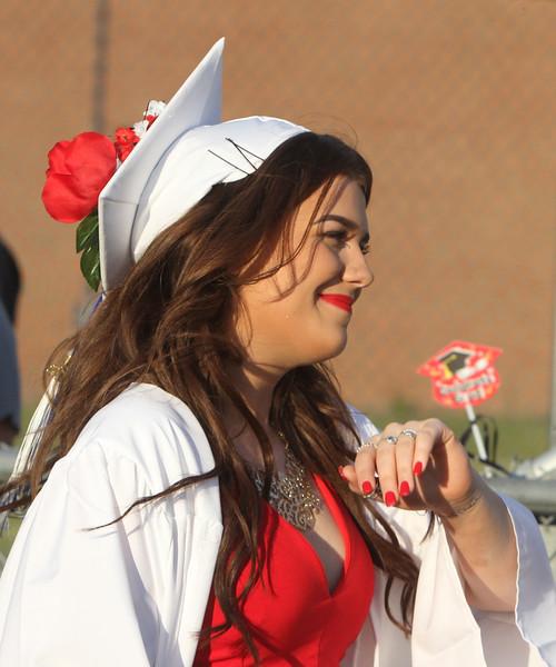 Dracut High graduation. Courtney Chase, as procession enters. (SUN/Julia Malakie)
