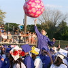 Dracut High graduation. Graduates play with a larger than normal beach ball. (SUN/Julia Malakie)