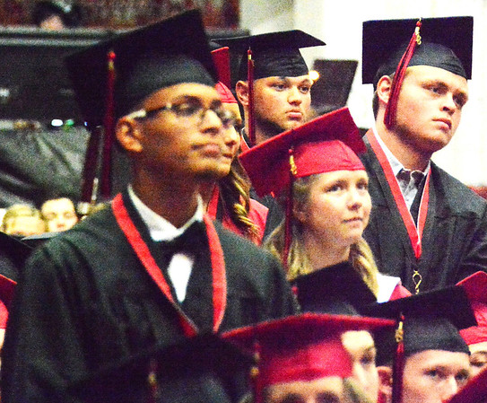 Will Fehlinger | The Herald-Tribune<br /> Several East Central High School graduates were asked to stand to honor their accomplishments.