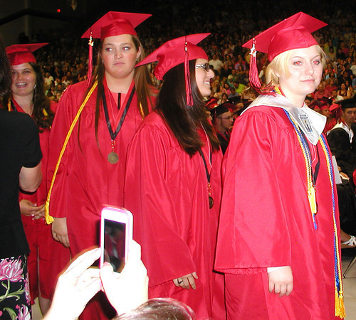 Diane Raver   The Herald-Tribune<br /> SENIORS spent a lot of time in lines during commencement exercises and were photographed almost every step of the way.