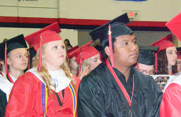 Will Fehlinger | The Herald-Tribune<br /> Members of East Central's Class of 2017 take in the commencement ceremony, held Sunday, June 4 in the EC gymnasium. Diplomas were granted to 316 ECHS seniors.