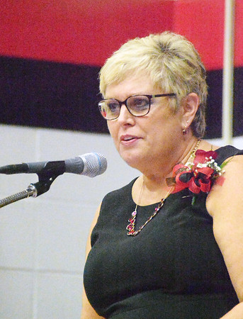East Central High School principal Bev Ester addresses the Class of 2017 at commencement exercises June 4.