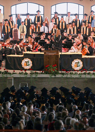 Record-Eagle/Keith King<br /> The Traverse City Central High School Chorale and Orchestra perform during the Traverse City Central High School commencement at the Interlochen Center for the Arts.