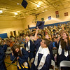 Record-Eagle/Jan-Michael Stump<br /> Grand Traverse Academy graduates celebrate at the end of commencement exercises Friday night in the gymnasium.
