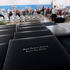 Record-Eagle/Keith King<br /> Binders lie on a table Friday, June 1, 2012 during the commencement exercises at Grand Traverse Academy.