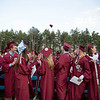 A lone hat flies from the Class of 2016 at the end of Groton-Dunstable Regional High School's graduation on June 3, 2016. Nashoba Valley Voice/Chris Lisinski