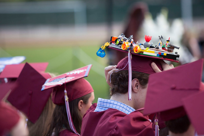 Groton's Andrew Cahoon wears his homemade graduation cap adorned with Legos (which are held together with super glue) at Groton-Dunstable Regional High School's graduation on June 3, 2016. Nashoba Valley Voice/Chris Lisinski