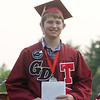 Groton-Dunstable graduation, at the high school. Griffin Bjerke with diploma. (SUN/Julia Malakie)