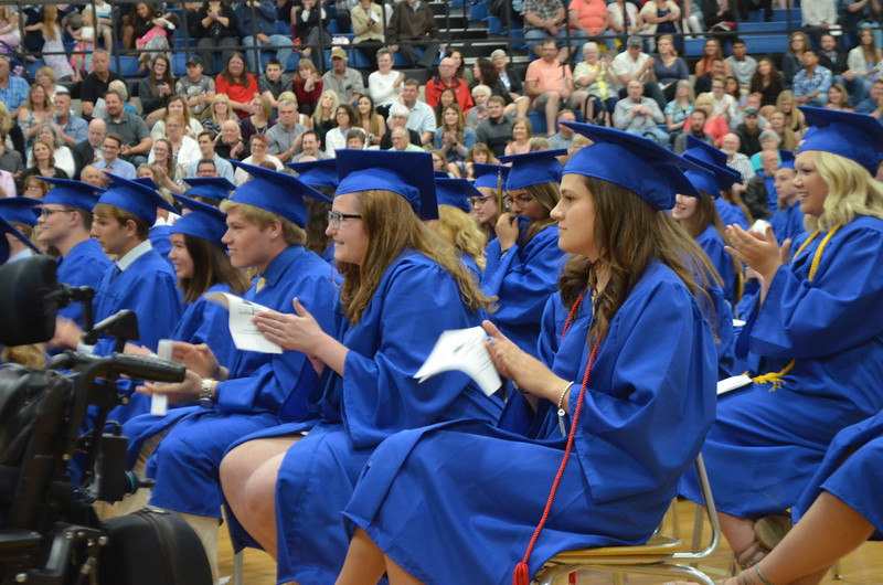 -Messenger photo by Joe Sutter<br /> <br /> Emily Fortner, center, and Madison Frideres, right, applaud after Jared Knopp's speach Sunday.