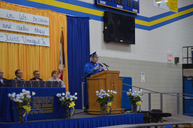 -Messenger photo by Joe Sutter<br /> <br /> Giving one of two student speeches for the Humboldt High School graduation, Jared Knapp tells his fellow classmates to make a mark. That could include jokes, like those  Knapp is know for, but also means making someone else's life better, he said.