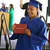 Innovation Academy Charter School graduation. Adrik Edmonds of Tewksbury holds up his diploma. (SUN/Julia Malakie)