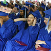 Innovation Academy Charter School graduation. From left, Adrik Edmonds of Tewksbury, Kenializ Campos Hernandez of Lowell, and Lukas Pippos of Billerica. (SUN/Julia Malakie)