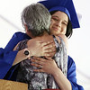 Innovation Academy Charter School graduation. Graduate Sarah Yoken of Tewksbury hugs staff member Lise Brody after Brody spoke about her during diploma presentation. (SUN/Julia Malakie)