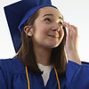 Innovation Academy Charter School graduation. Sophia Crowley of Dracut wipes her eyes as she's introduced. (SUN/Julia Malakie)