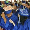 Innovation Academy Charter School graduation. Adrik Edmonds of Tewksbury, left, and Kenializ Campos Hernandez of Lowell. (SUN/Julia Malakie)
