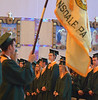 Lansdale Catholic high school seniors stand before being seated for commencement ceremony at the Shrine of Czestochowa.  Tuesday, June 3, 2014.  Photo by Geoff Patton