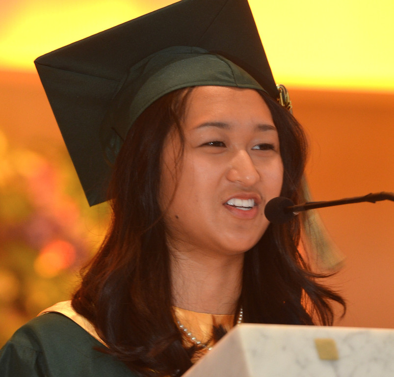 . Pearl Valentine Guinto Galido delivers the Salutatorian Address at the Lansdale Catholic high school commencement ceremony.   Tuesday, June 3, 2014.  Photo by Geoff Patton