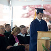 Graduating senior Ben Gainsboro of Concord delivers a witty, joke-filled speech at Lawrence Academy's graduation in Groton on June 3. Nashoba Valley Voice/Chris Lisinski